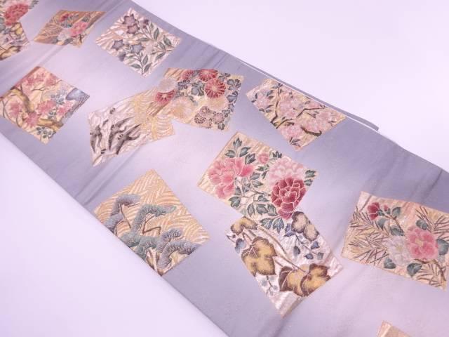 色紙に鳥・草花模様織出し暈し袋帯【リサイクル】【中古】【着】 宗sou