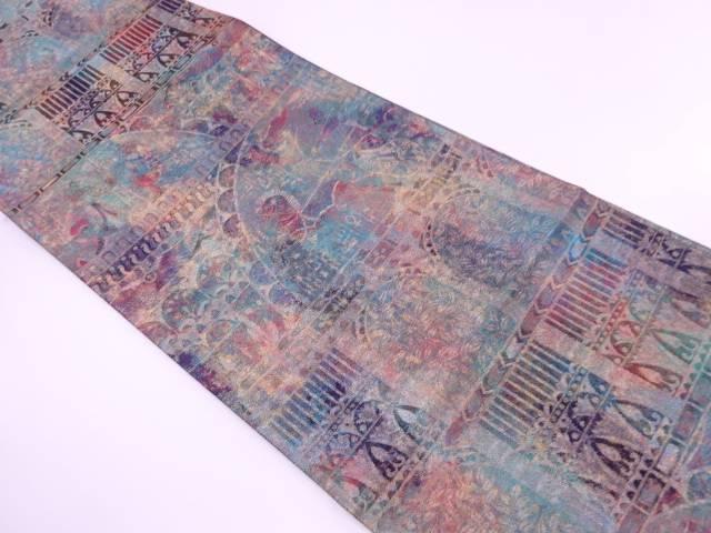 青銅箔狩猟に草花模様織出し袋帯【リサイクル】【中古】【着】 宗sou