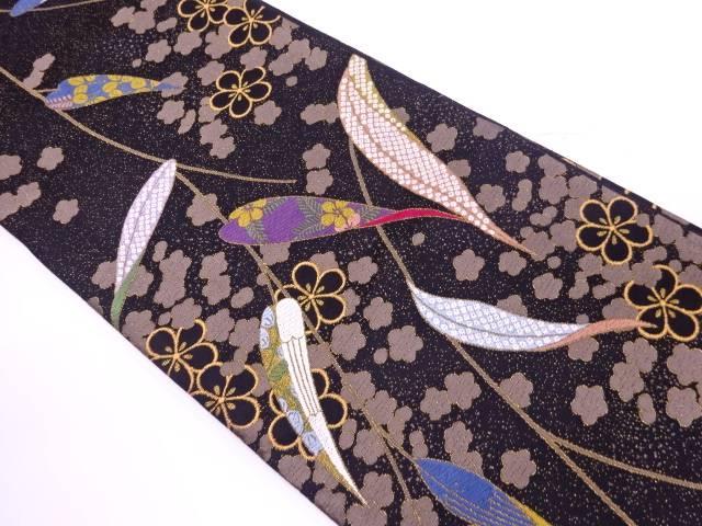 白綾苑大庭製 草葉に鹿の子・草花模様織出し袋帯【リサイクル】【中古】【着】 宗sou