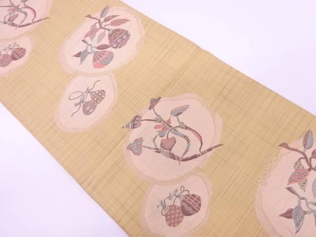 果実に草花模様織出し全通袋帯【リサイクル】【中古】【着】 宗sou