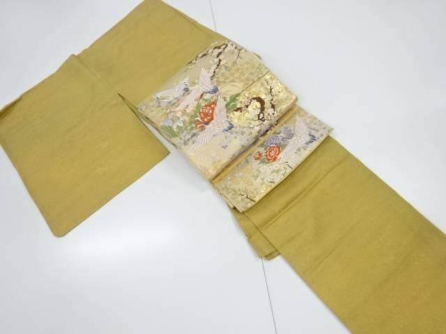 雲に芝草花模様織出暈し一つ紋色無地着物・袋帯セット【リサイクル】【中古】【着】 宗sou