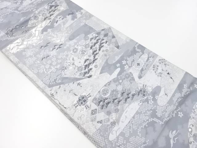 銀糸地紙に花模様織出袋帯【リサイクル】【中古】【着】 宗sou