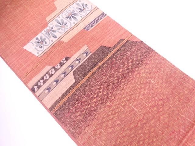 すくい織草花模様織出し袋帯【リサイクル】【中古】【着】 宗sou