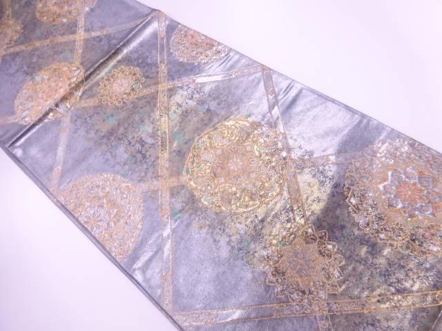 引箔格天井に華紋模様織出し袋帯【リサイクル】【中古】【着】 宗sou