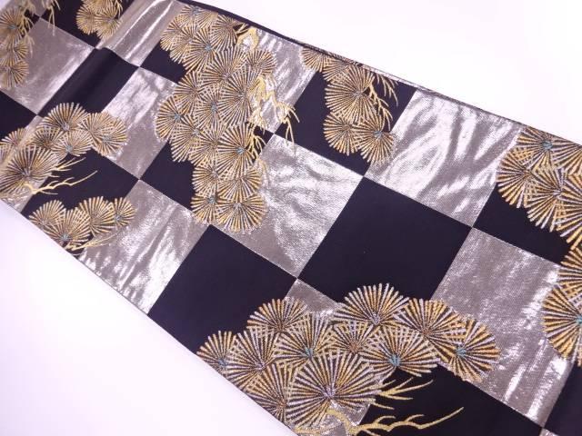 市松に松模様織出し袋帯【リサイクル】【中古】【着】 宗sou