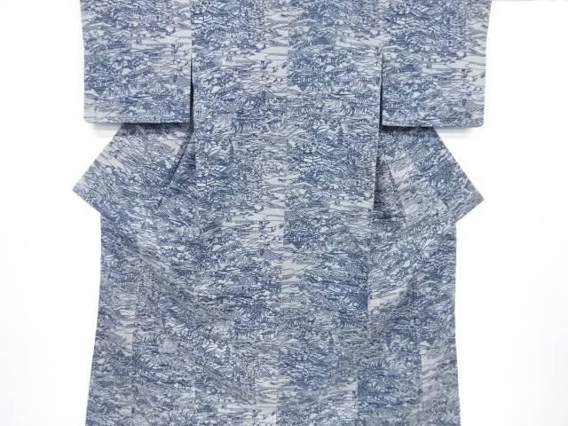 本藍型染寺院に家屋・草花模様手織り縦節紬着物【リサイクル】【中古】【着】 宗sou