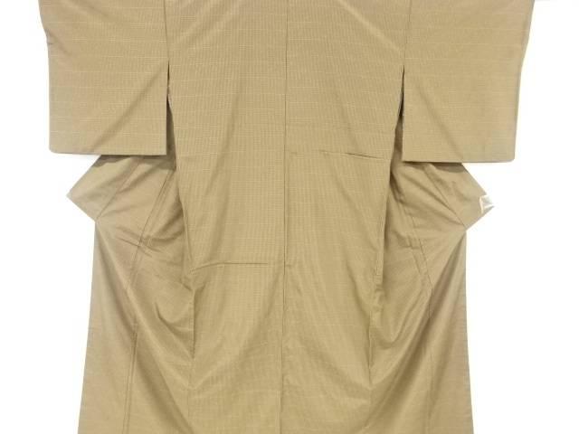 草木染小格子織り出し手織り節紬リバーシブル着物【リサイクル】【中古】【着】 宗sou