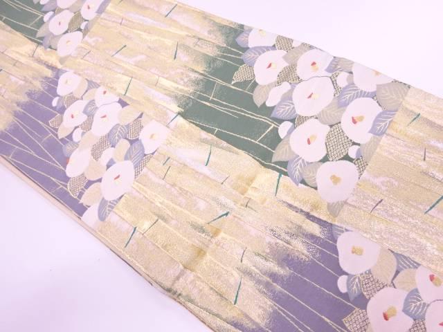 万寿菊に竹模様織出し袋帯【リサイクル】【中古】【着】 宗sou