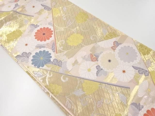 菊に花唐草模様織り出し袋帯【リサイクル】【中古】【着】 宗sou