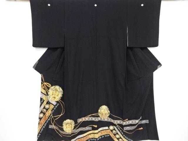 箔置花更紗に鳳凰模様刺繍留袖(比翼付き)【リサイクル】【中古】【着】 宗sou