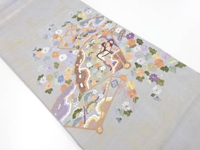 手刺繍桧扇に御所車・花鳥模様袋帯【リサイクル】【中古】【着】 宗sou