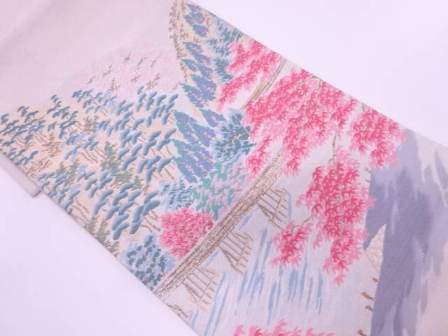 明綴れプラチナ箔橋に樹木風景模様織出し袋帯【リサイクル】【中古】【着】 宗sou