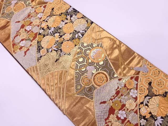 本金箔能衣扇散紋織出し袋帯【リサイクル】【中古】【着】 宗sou