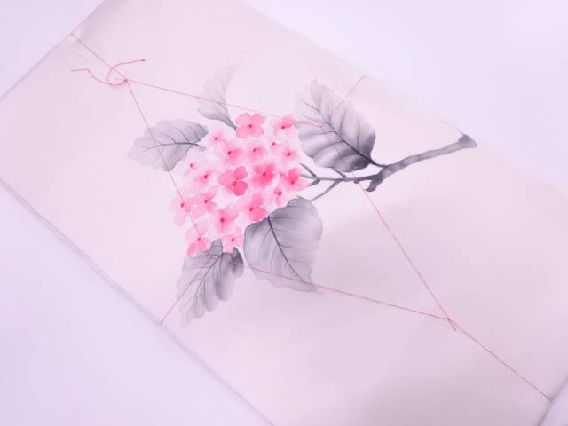 未使用品 節紬手描き紫陽花模様名古屋帯【リサイクル】【着】 宗sou