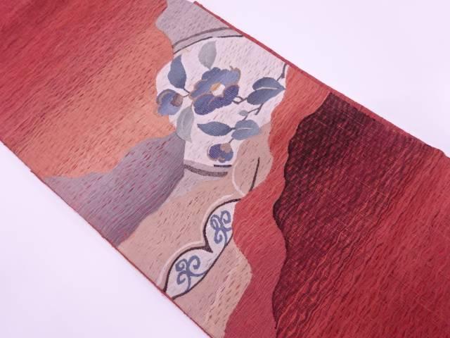じゅらく新本社製 漢方薬草染すくい織道長取りに椿模様織出し夏用袋帯【リサイクル】【中古】【着】 宗sou