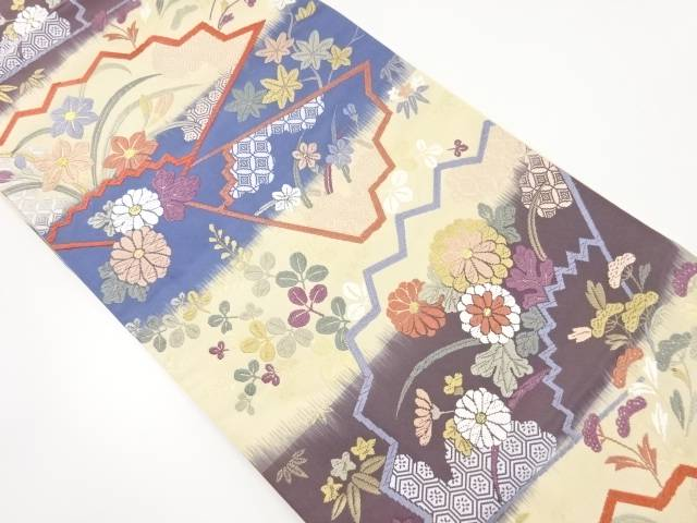 唐織花扇模様織出袋帯【リサイクル】【中古】【着】 宗sou