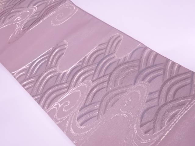 紗 流水に波模様織出し袋帯【リサイクル】【中古】【着】 宗sou