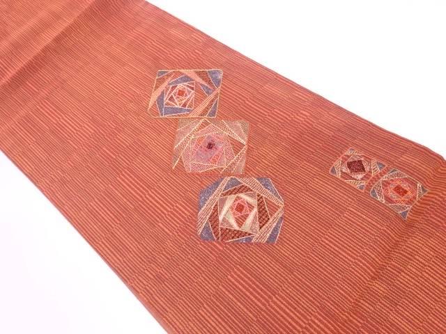 茶道具 売り込み 世界の人気ブランド 茶道 着物 相良刺繍色紙模様袋帯 宗sou 着 リサイクル 中古