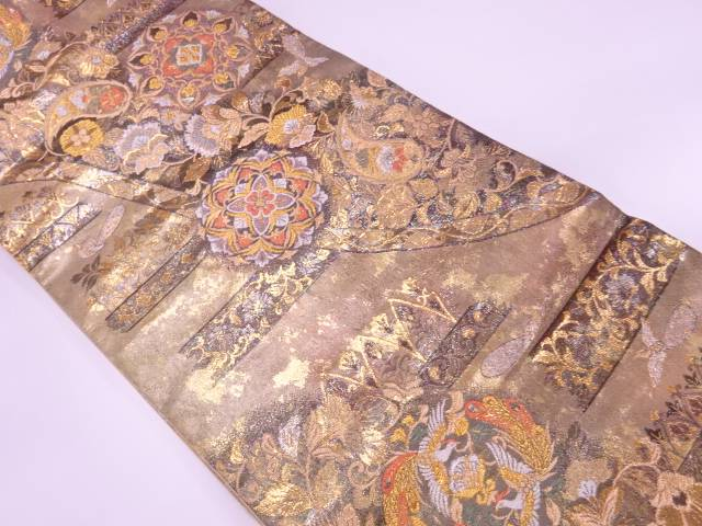 プラチナ箔花鳥に華紋模様織出し袋帯【リサイクル】【中古】【着】 宗sou