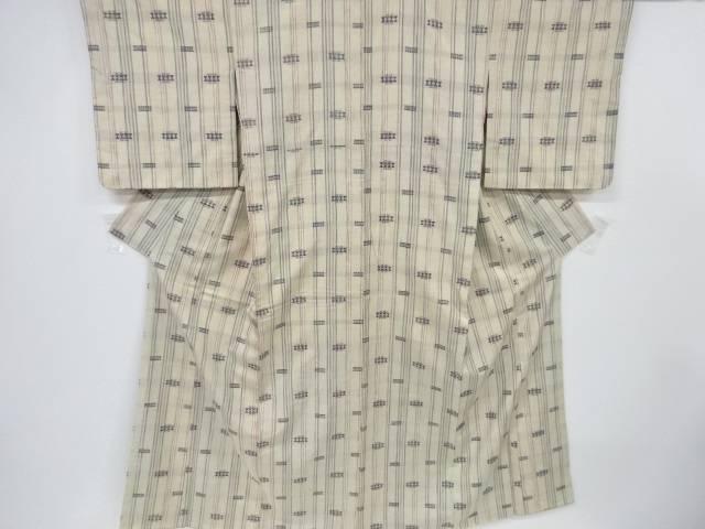 縞に幾何学模様織出手織り紬着物【リサイクル】【中古】【着】 宗sou