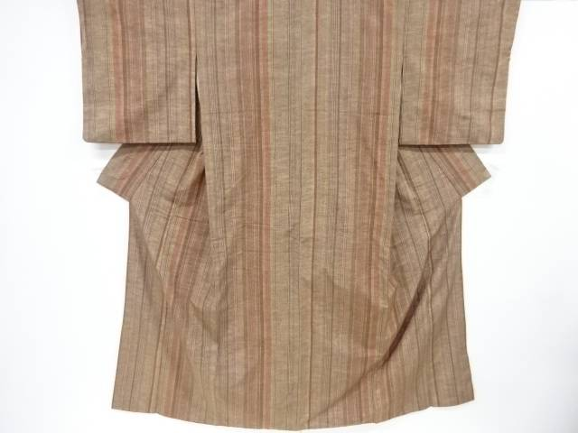 コーヒー染縞織出手織り真綿紬着物【リサイクル】【中古】【着】 宗sou