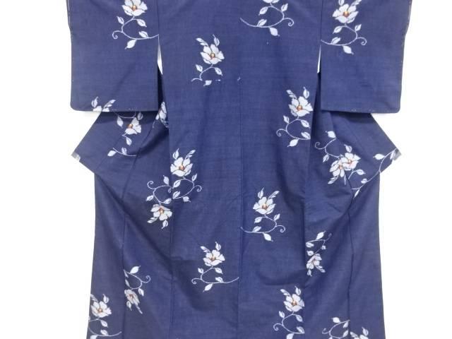 椿唐草模様織り出し手織り真綿紬着物【リサイクル】【中古】【着】 宗sou