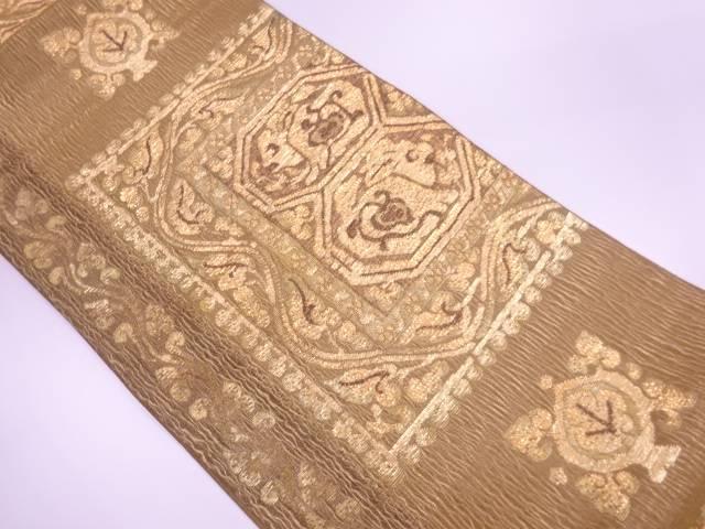 モール草花に抽象模様織出し袋帯【リサイクル】【中古】【着】 宗sou
