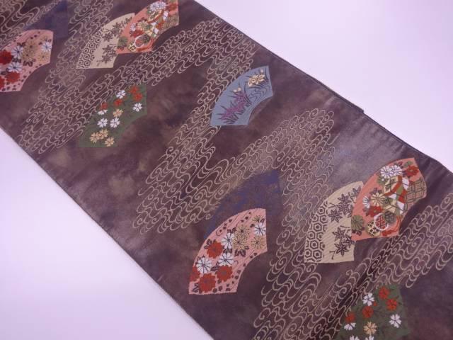 服部織物製 こはく錦地紙に草花・流水模様織出し袋帯【リサイクル】【中古】【着】 宗sou