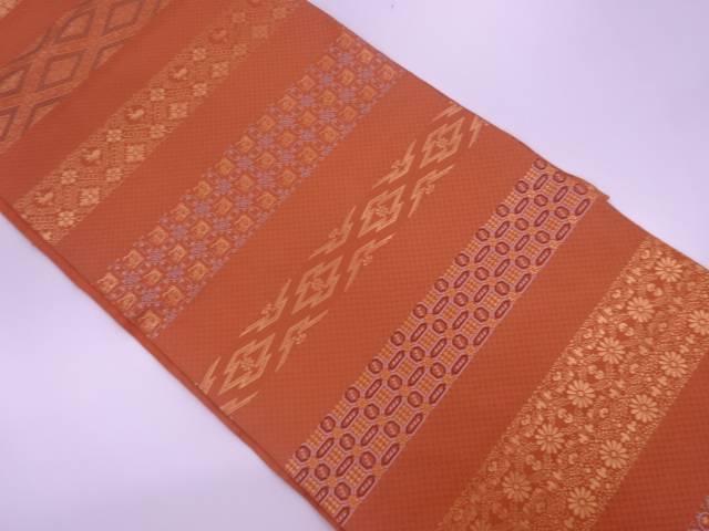 川島織物製 横段に草花模様織出し全通袋帯【リサイクル】【中古】【着】 宗sou