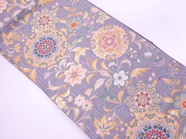 すくい織華紋に草花模様織出し袋帯【リサイクル】【中古】【着】 宗sou