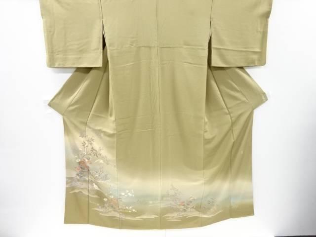 作家物 手描き友禅槌車に花・鷺模様一つ紋色留袖【リサイクル】【中古】【着】 宗sou