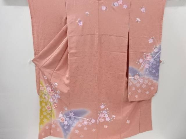 桜に花模様刺繍振袖 袋帯セット【リサイクル】【中古】【着】 宗sou