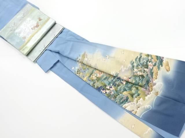 作家物 手描き友禅家屋風景に鳥模様一つ紋色留袖 長襦袢・袋帯セット【リサイクル】【中古】【着】 宗sou