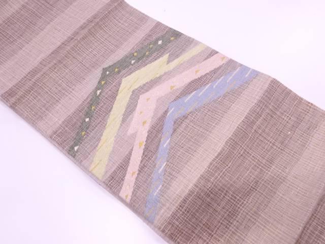 すくい織変わり横段に抽象模様織出し夏用袋帯【リサイクル】【中古】【着】 宗sou