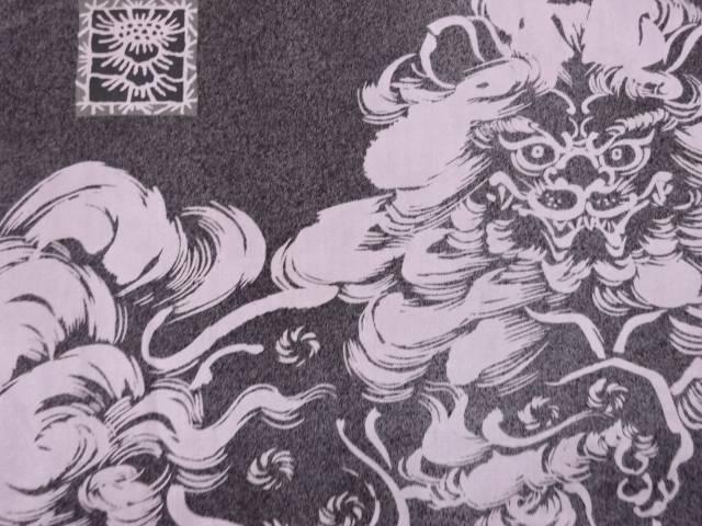 【茶道具・茶道・着物】 唐獅子模様肩裏本場泥大島紬男物羽織【アンティーク】【中古】【着】 宗sou