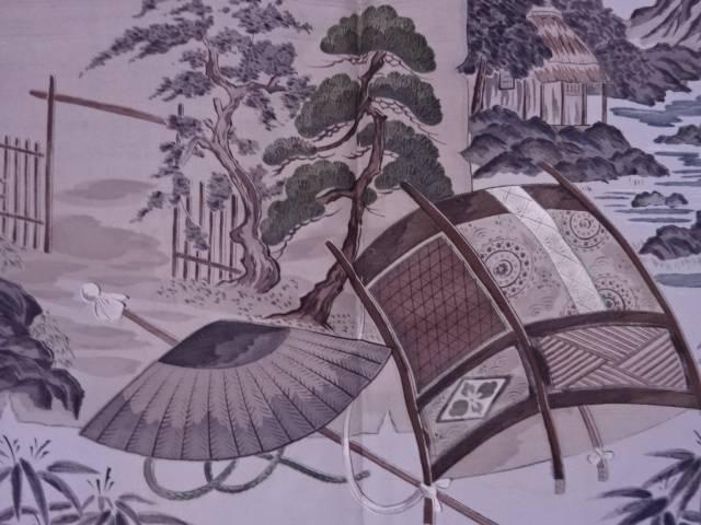 【茶道具・茶道・着物】 家屋風景模様肩裏紬男物羽織【アンティーク】【中古】【着】 宗sou