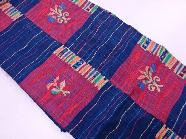 手織り真綿紬変わり市松に草花模様織出し名古屋帯【リサイクル】【中古】【着】 宗sou