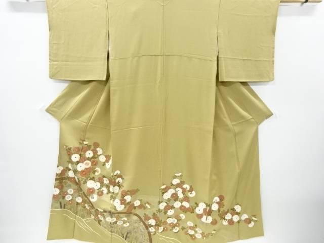 金彩螺鈿蛇籠に菊模様刺繍色留袖【リサイクル】【中古】【着】 宗sou