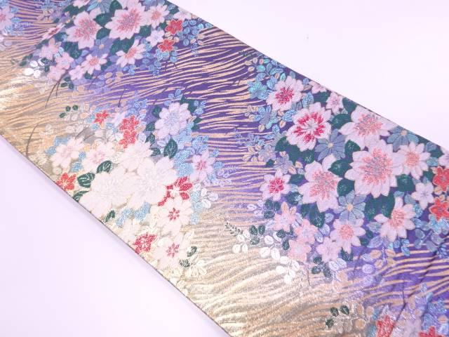 草花模様織出し袋帯【リサイクル】【中古】【着】 宗sou