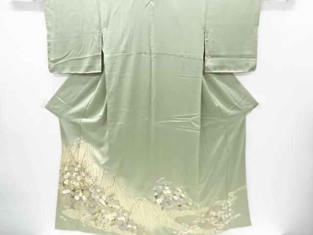 金彩友禅枝垂れ柳に菊模様刺繍一つ紋色留袖【リサイクル】【中古】【着】 宗sou