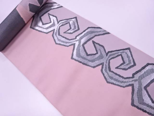 【茶道具・茶道・着物】 抽象模様織出し八寸帯地反物【アンティーク】【中古】【着】 宗sou