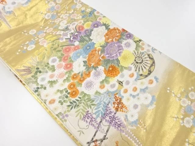 本金箔花車模様織り出し袋帯【リサイクル】【中古】【着】 宗sou