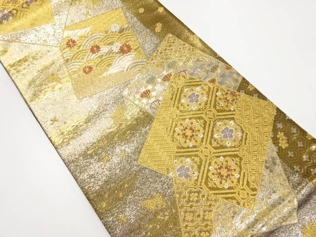 金銀糸色紙に花古典柄織出袋帯【リサイクル】【中古】【着】 宗sou