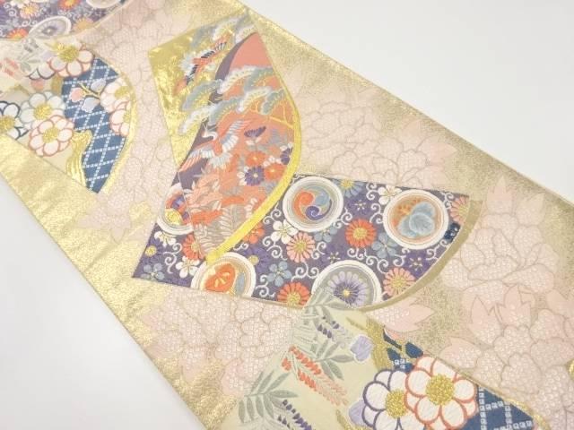誰が袖に鶴・草花模様織り出し袋帯【リサイクル】【中古】【着】 宗sou