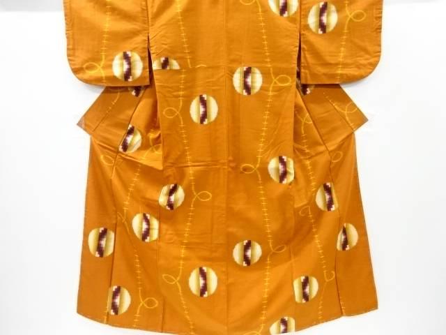 【茶道具・茶道・着物】 幾何学模様織り出し銘仙着物【大正ロマン】【中古】【着】 宗sou