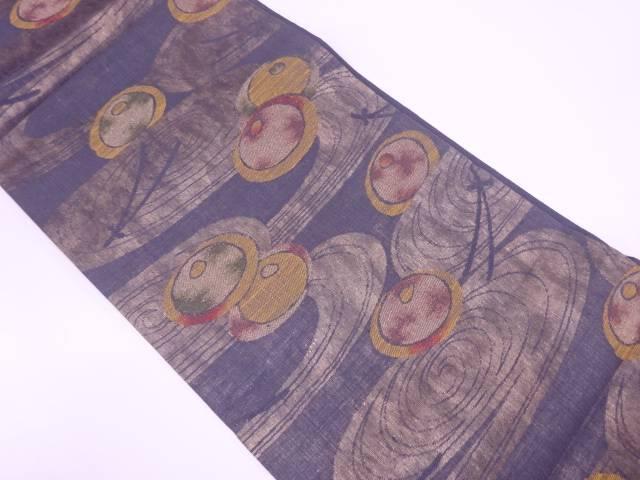 流水に松葉・万寿菊模様織出し袋帯【リサイクル】【中古】【着】 宗sou
