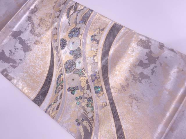 茶道具 茶道 着物 未使用品 初回限定 着 リサイクル 使い勝手の良い 宗sou 金彩螺鈿波に草花模様袋帯