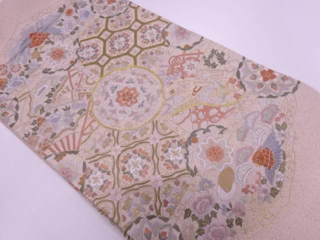 蘇州刺繍花鳥に古楽器模様袋帯【リサイクル】【中古】【着】 宗sou
