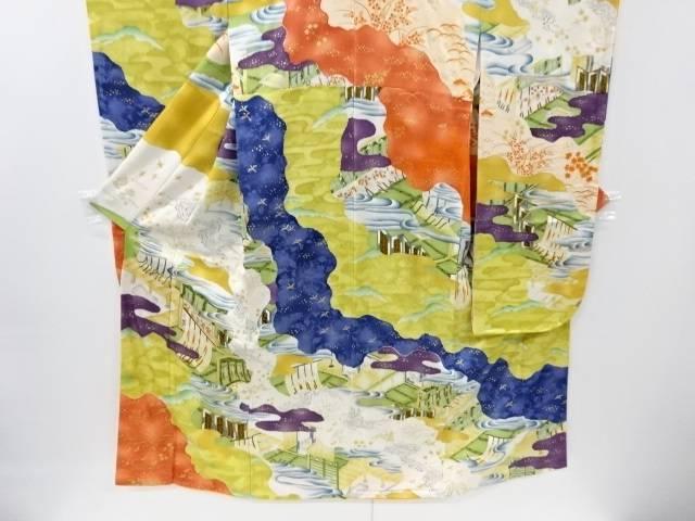 道長取りに屋敷風景模様刺繍振袖・長襦袢セット【リサイクル】【中古】【着】 宗sou