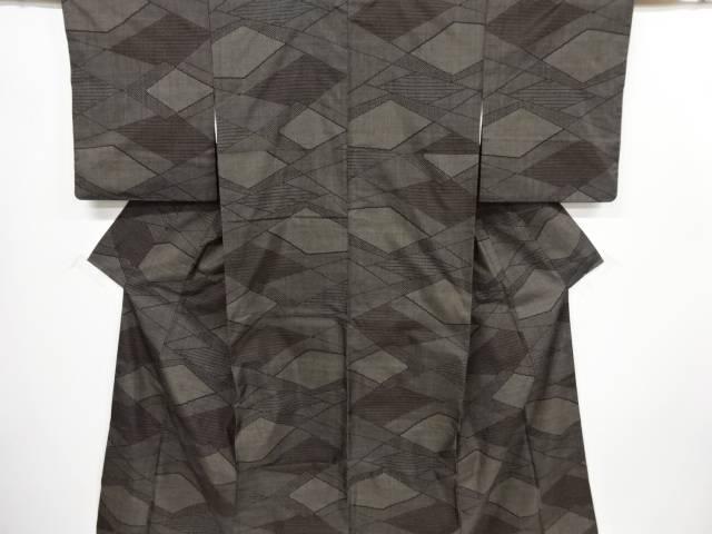 幾何学模様織出本場泥大島紬着物(5マルキ)【リサイクル】【中古】【着】 宗sou